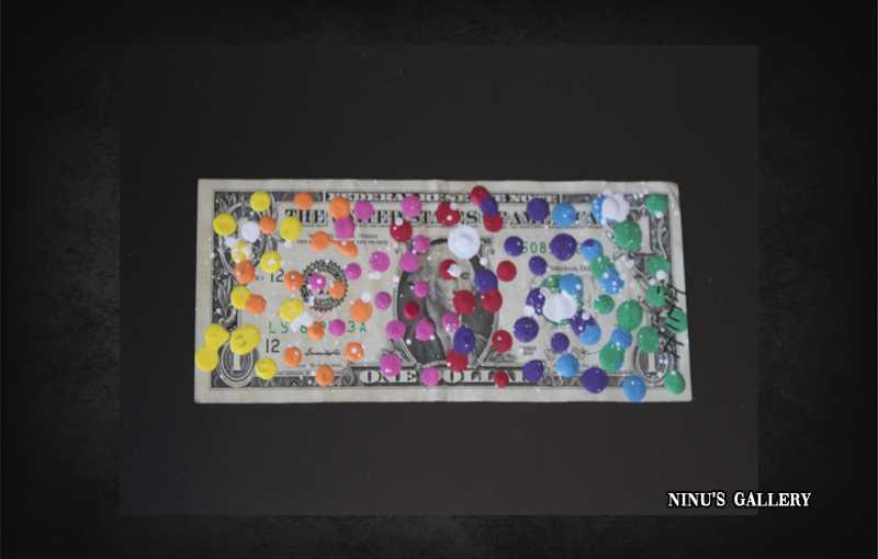 Billet encadré NINU'S DOLLAR N°3 - 18 x 23 cm, réalisé par l'artiste Ninu's Gallery, art contemporain