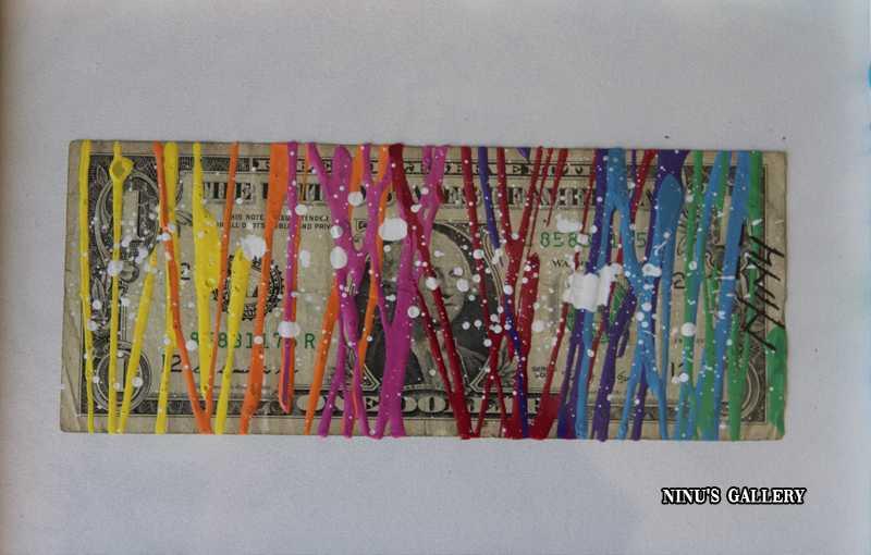 Billet encadré NINU'S DOLLAR N°2- 18 x 23, réalisé par l'artiste Ninu's Gallery, art contemporain