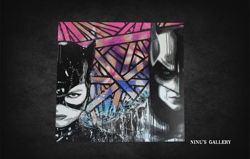 BATMAN VS CATWOMAN – 80 x 80 Duo avec l'artiste HORSS